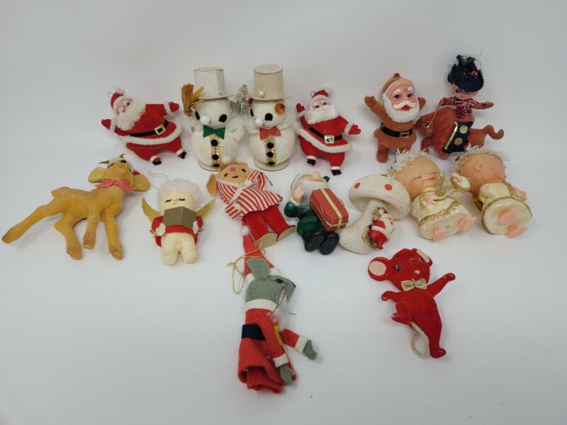 Lot of 15 Vintage Christmas Flocked Ornaments