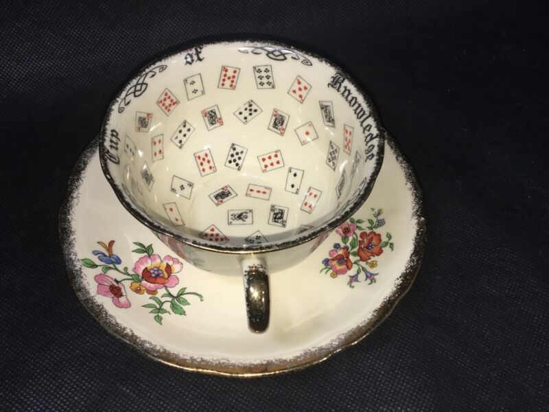 VINTAGE ALFRED MEAKIN CUP OF KNOWLEDGE TEA CUP AND SAUCER ROYAL MARIGOLD