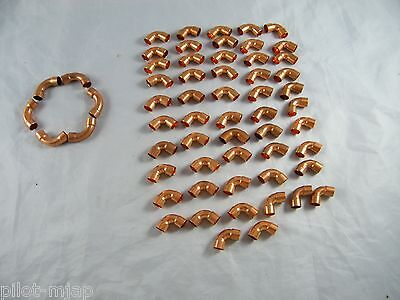 Lot Of 5 Elkhart 38 Copper 90 Elbows 53 Regular 38 90 6 Long Turn 90
