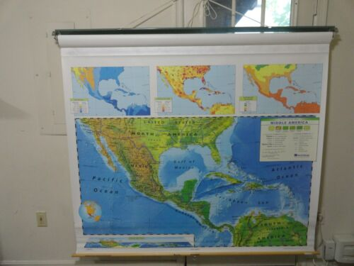 NYSTROM School  4-Layer Pull Down Map Western Hemisphere 1LCW / NYS0553-WBNYS