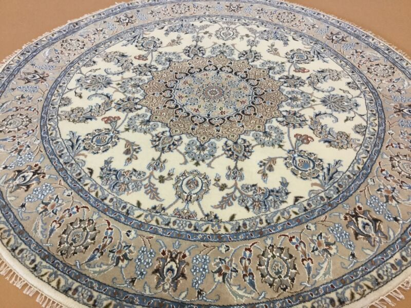 6 X 6 Round Ivory Beige Nain Persian Oriental Rug Hand Knotted Wool & Silk