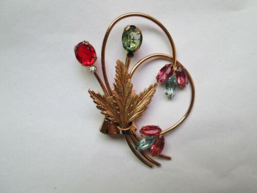 Vintage Coro Brooch Gold Tone w/Colored Stones