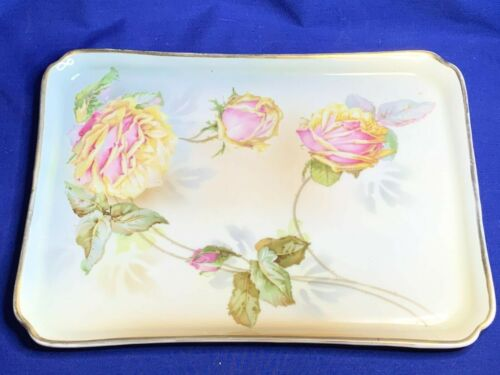 Erdmann Schlegelmilch china Suhl Prussia Rose decorated dresser tray