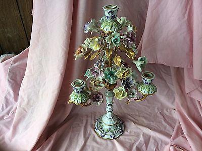"Magnificent Italian Porcelain 23"" 4 Light Candelabra Gilt Metal Applied Flowers"