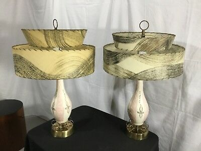(2) Vintage Mid Century Modern Retro Atomic 50's Table Lamp 60's - 50s Retro Table