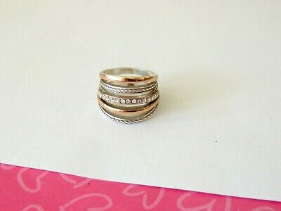 Brighton Neptune's Rings Silver Gold Band Crystal Size 9  Ring $58