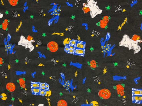 Tablecloth, Halloween, Black Print w. Scary Design, 38 x 27 in, Cotton Blend