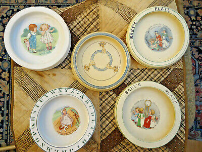 FIVE (5)ANT CHILDREN'S ABC BOWLS - COLLECTION, ROSEVILLE, BABY BUNTING,NURSERY