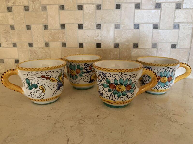 Italian Ceramic Espresso, Demitasse Cups, Set Of 4, Hand Painted
