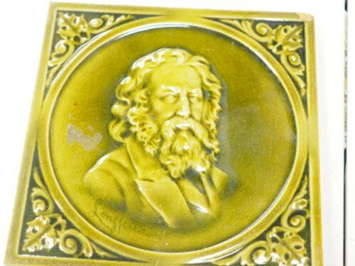 American Encaustic Tile Co Aetco Figural Portrait Longfellow