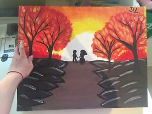 """""""Sunset In The Fall"""" Canvas Painting"""