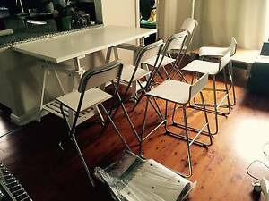 Adjustable table and 8 High Chairs IKEA (selling because leaving) Neutral Bay North Sydney Area Preview