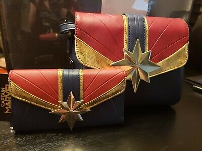 Captain Marvel Purse Costume Shoulder Bag Crossbody Tote & Matching Wallet NWT - Purse Costume