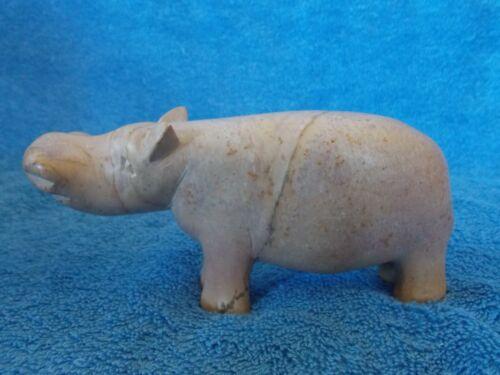 "Hippo Hippopotamus Stone Carved Figurine 5"""