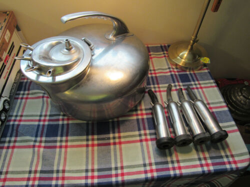 Vintage Stainless  Surge Milker  Bucket with C Lid and Teat Cups