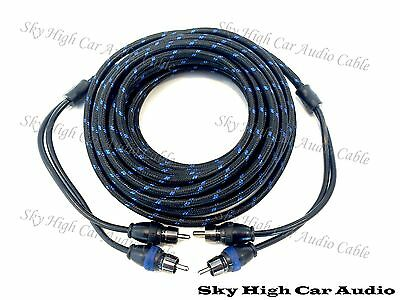 Sky High Car Audio 2 Channel 20 ft RCA Cables Triple Shield Nylon Coated 20'