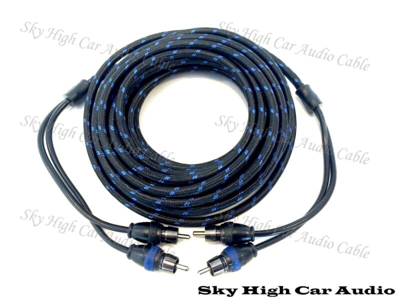 Sky High Car Audio 2 Channel 18 ft RCA Cables Triple Shield Nylon Coated 18