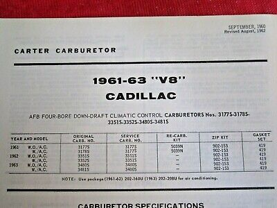 CARTER AFB 4 BARREL CARBURETOR KIT 1957-1966 CADILLAC 1961-1966 PONTIAC 8 CYL
