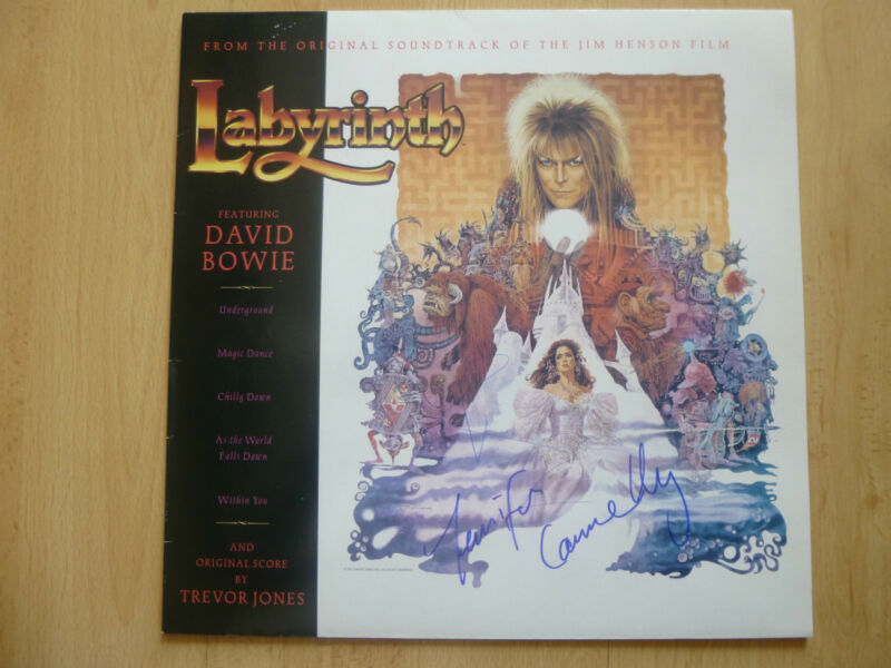 "David Bowie & Jennifer Connelly Autogramme signed LP-Cover ""Labyrinth"" Vinyl"