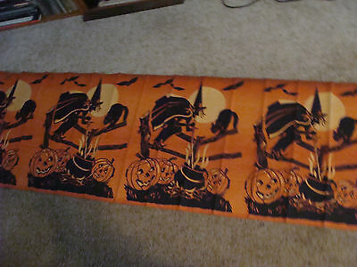 orig UNUSED DENNISON crepe paper HALLOWEEN banner, 10 Feet w WITCH CAT PUMPKI
