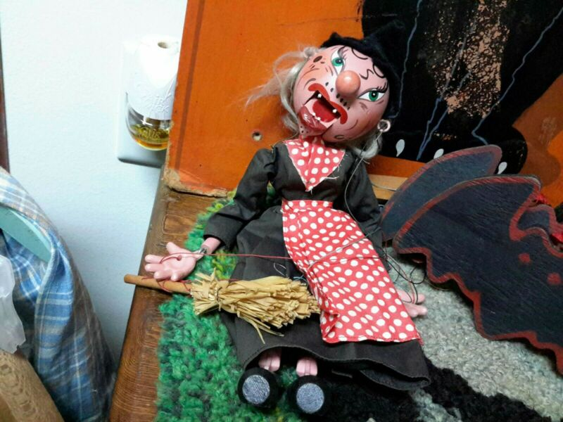 Vintage Halloween Witch Pelham Puppet RARE Wood Marked 11""