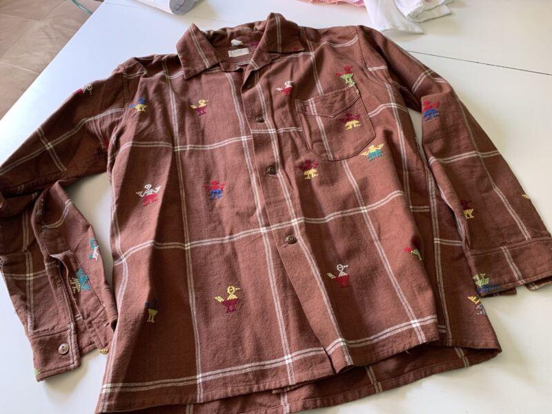 VTG 60s La Regional Guatemala Ethnic Boho Bird Duck Shirt Art Unisex
