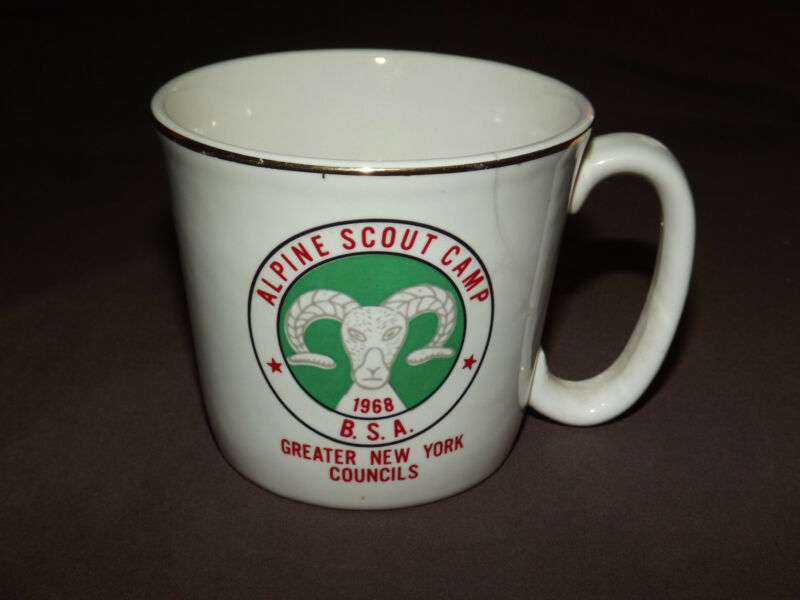 VINTAGE BSA BOY SCOUTS COFFEE MUG  1968 ALPINE SCOUT CAMP NEW YORK COUNCILS