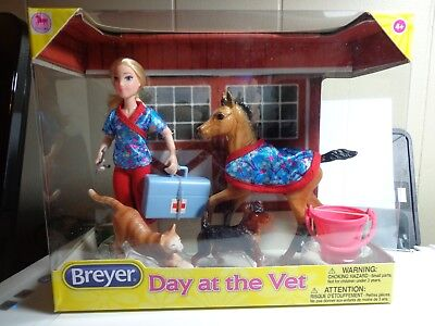 "Breyer Classics Day At The Vet 6"" Doll and Pony and Cat Dog Toys #62028"