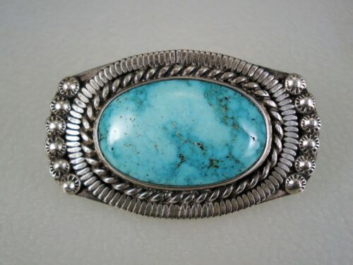 VERY FINE OLD NAVAJO STERLING SILVER & TURQUOISE PIN BROOCH