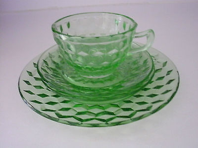"""green  glass  CUP, 2 SAUCERS, 8"""" PLATE cube/cubist JEANETTE"""