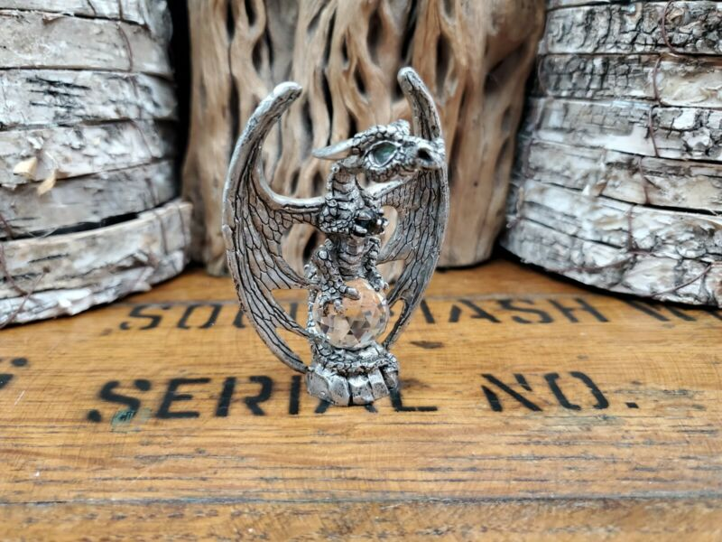 """Pewter Dragon Sitting on Clear Crystal Ball Fellowship Foundry 1991 3"""" (E)"""