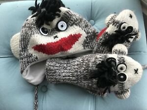 Kids Sock Monkey Hat and Mitts