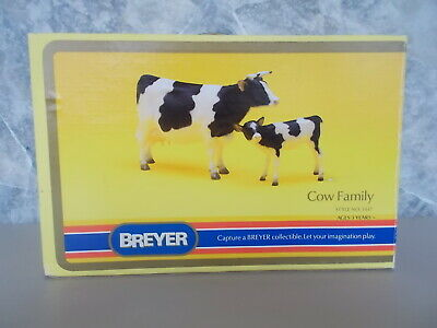 Vintage 1974-1989 Breyer Cow Family Black & White Cow & Calf Set 3447 Box