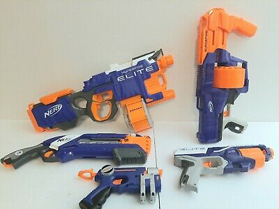Nerf Gun Blaster Lot Of 5 Hyperfire Elite Surgefire Roughcut Tested Works