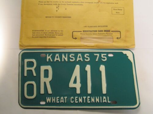 *Unused* LICENSE PLATE Car Tag 1975 KANSAS ROR 411 Rooks County [Z258]