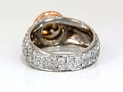 GIA Certified 3.08ct. Fancy light brown round cut diamond ring 14kt + 4