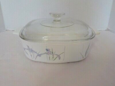 """SHADOW IRIS"" Corning Ware 2 Liter Covered Casserole w/Lid Baking Dish A-2-B"
