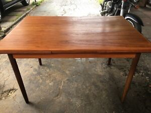 Mid century modern Teak draw leaf dining table