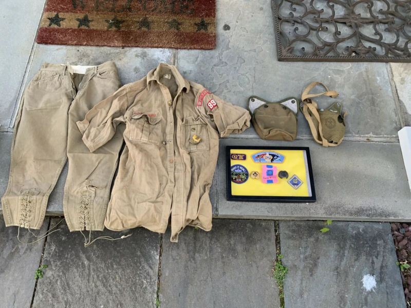 Old Vintage Boy Scouts Uniform Group Fairfield CT From Cub To Boy Incl Rare Ring