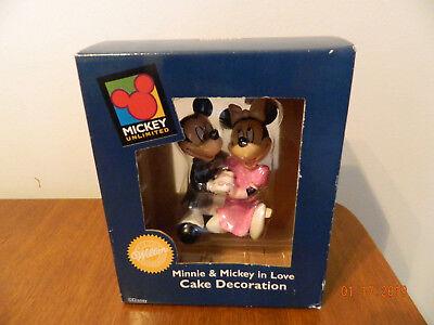 Vtg Minnie & Mickey Mouse Bride Groom Resin Wedding Figurine Cake - Mickey Mouse Wedding Cake Topper