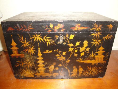 "BOX ANTIQUE CHINOISERIE Large c1840 Japanned Black Lacquer 13""x8""x9"""