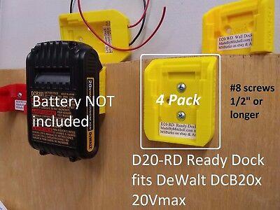 D20 Ready Dock, Cover, Mount, Store Dewalt Battery, USA >>4Pack<< PN# D20-RDx4
