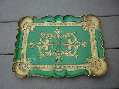 """Antique Vintage  Italy Italian Florentine Gold Green Gilt  Wooden Tray 14"""""""