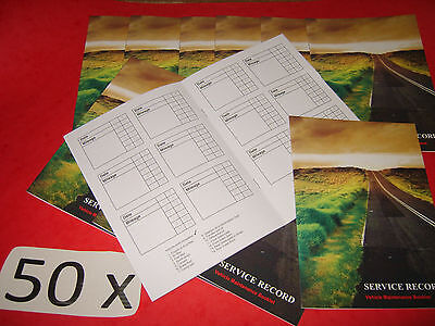 50 x Blank Service History Book & Maintenance Record Replacement Any Car or Van