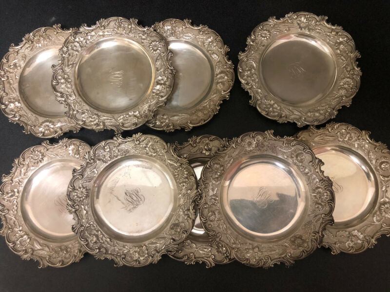 9 Irregular Border Early Kirk Repousse Sterling Bread and Butter Plates