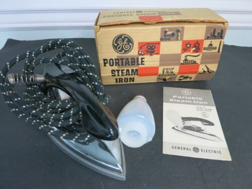 Vintage GE General Electric Portable Steam Iron F37 Mid Century In Box TESTED