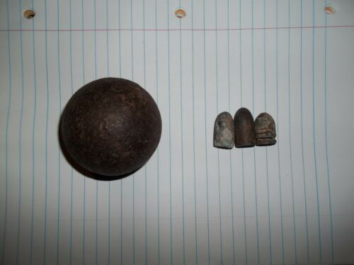 Civil War Cannon Ball and Bullets
