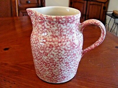 THE WORKSHOP OF GERALD E.HENN ROSEVILLE OHIO PINK & WHITE LG SPONGEWARE PITCHER
