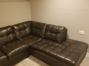 Large real leather sectional