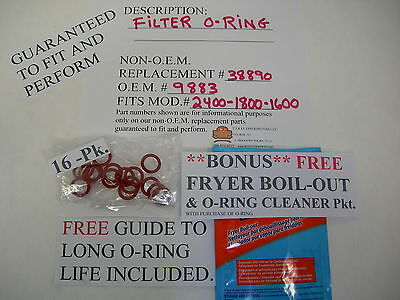 16-filter O-rings Fits Broaster Model 160018002400 Wfree Fryer Boil Out Pkt.